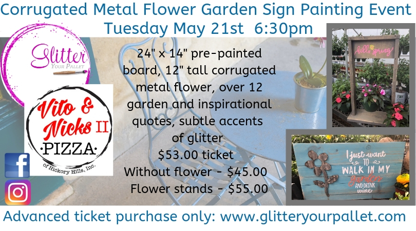 Corrugated Metal Flower Signs & Flower Stands – Vito & Nick's II, Hickory Hills – Public