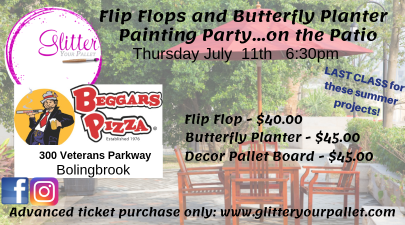 Flip Flop & Butterfly Painting Party … On The Patio – Beggars Pizza Bolingbrook – Public