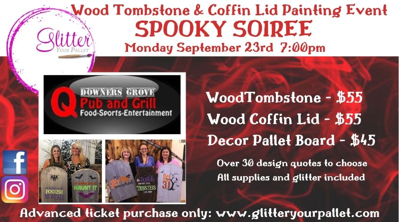 Tombstones & Coffin Lids – Q Pub & Grill – Downers Grove – Open To The Public
