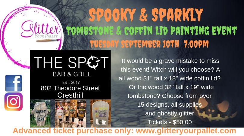 *** NEW TICKETS ADDED *** Spooky & Sparkly – Wood Tombstone & Coffin Lid Painting – The Spot Bar & Grill, Cresthill – Open To The Public