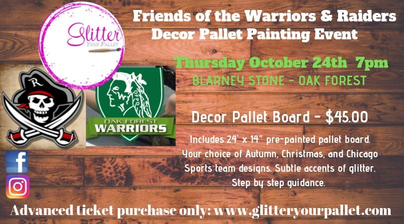 Friends of the Warriors and Raiders, Wood Painting Night at The Blarney Stone, Oak Forest