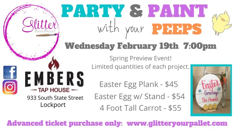 *** SOLD OUT *** Spring Preview Event, Party & Paint with your Peeps, Embers Tap House, Lockport – Public