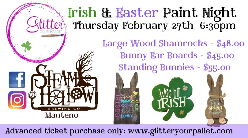*** SOLD OUT *** Irish Easter Paint Night – Steam Hollow Brewing, Manteno – Open To The Public