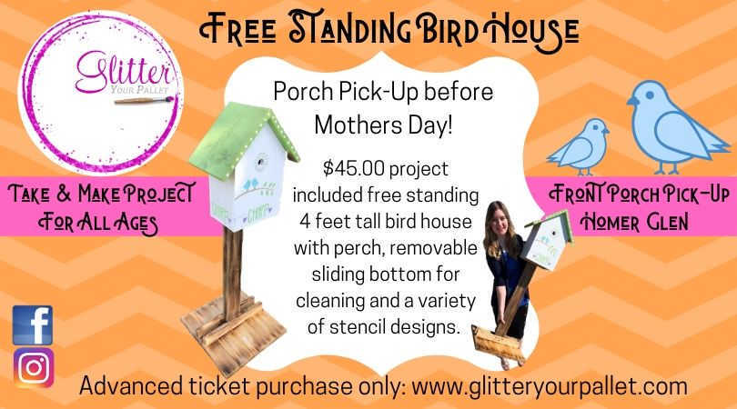 Free Standing Birdhouse Project – Front Porch Pick Up In Homer Glen