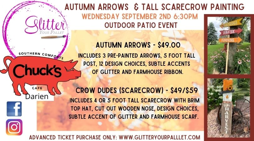 ***SOLD OUT*** Autumn Arrow & Scarecrow Outdoor Patio Event – Chuck's Darien – Open To The Public