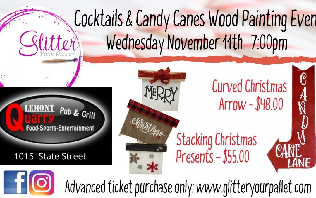 ** SOLD OUT**  Cocktails & Candy Canes Paint Night – Quarry Bar & Grill Lemont – Public