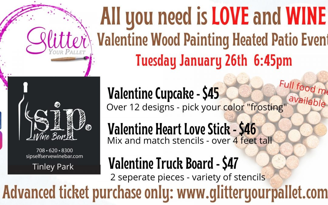 *** SOLD OUT ***For the Love of Wine & Painting – SIP. Wine. Bar. Tinley Park – Outdoor Heated Patio – Public
