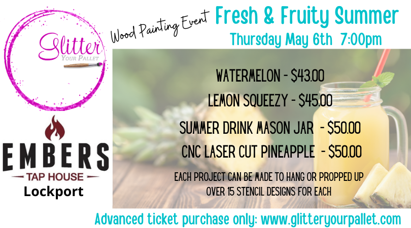 *** SOLD OUT*** Fresh & Fruity Summer Wood  Painting Event – Embers Tap House, Lockport – Open To The Public