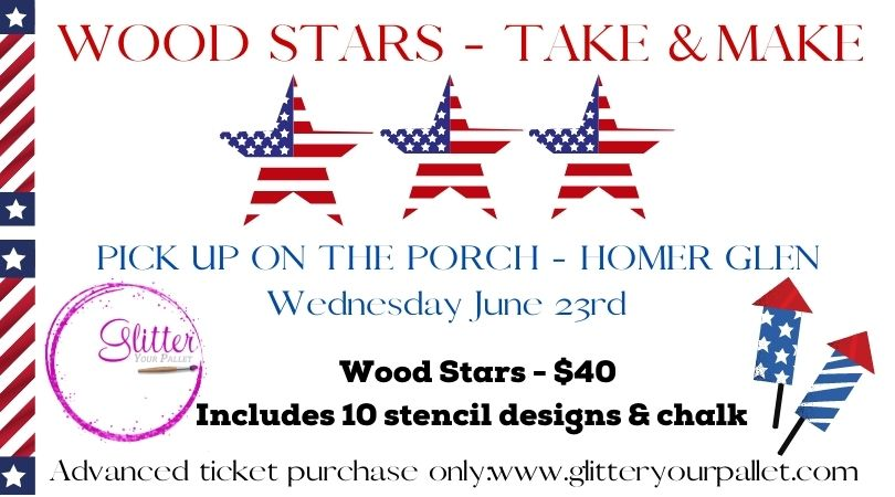 Take & Make – Wood Stars – Pick Up On The Porch (Homer Glen)