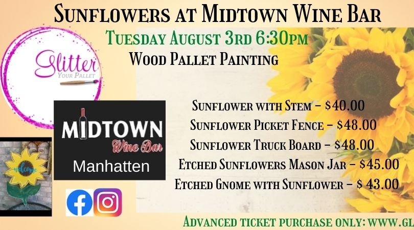 Sunflowers at MIDTOWN WINE BAR, Manhattan – Open To The Public