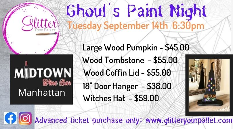 *** SOLD OUT *** Ghoul's Paint Night – Midtown Wine Bar, Manhattan – Open To The Public